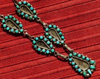 Zuni Sterling Silver Snake Eyes Petit Point Turquoise Necklace