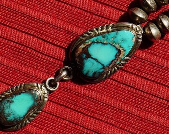 Navajo Sterling Silver Turquoise Double Pendant Stamped Saucer Bench Bead Necklace