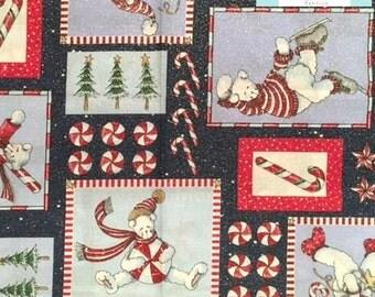 LAST YARD, Peppermint Snowman Fabric , 1 yard