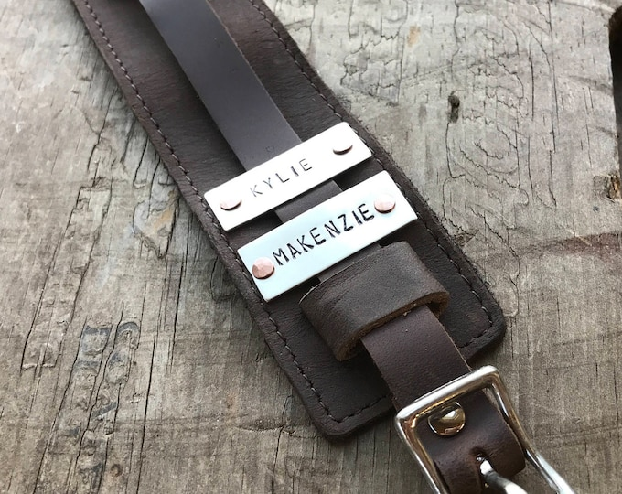 Personalized Dad Bracelet Cuff Sterling Silver and Leather Name Bracelet Custom Men's Gift