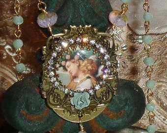 Vintage angel rose crown image art print rosary chain necklace artisan pendant Sacred Jewelry Pamelia Designs