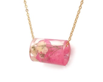 Resin Tube Necklace with Pink Hydrangea and White Baby's Breath.  Resin Jewelry with Real Pressed Flowers.