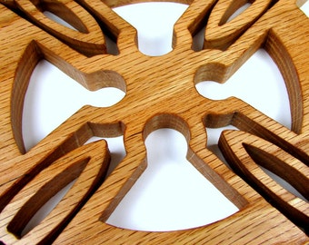 Cross / Celtic Design / Wall Decor / Red Oak Wood