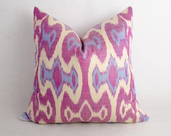 18x18 purple ikat pillow cover, ikat, cushion, purple pillow, uzbekistan