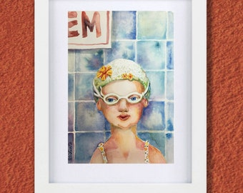 Original Watercolor - 7x10 inches - Little Girl Swimmer with Goggles  and Retro Cap - Daily painting Number 58