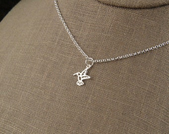 Tiny hummingbird charm necklace in sterling silver, hummingbird necklace, tiny silver charm, bird necklace, mother's day