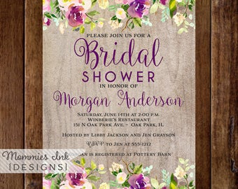Watercolor Floral Bridal Shower Invitation, Shower Invite, Watercolor Invitation, Wood Grain Invitation, Rustic Invitation, Purple Flower