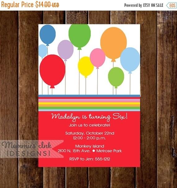 10% OFF SALE Birthday Party Invitation, Birthday Invitation, Balloons Invitation, Balloon Birthday Invite, Gender Neutral Invitation, DIY, P