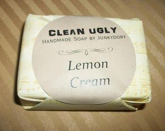 CLEAN UGLY Handmade Soap Lemon Cream Scented Homemade Bar Soap