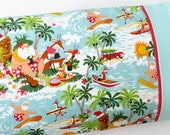 Christmas Pillow Case, Standard Bed Kids Pillow Case, Surfin Santa and Reindeer, Aqua and Red