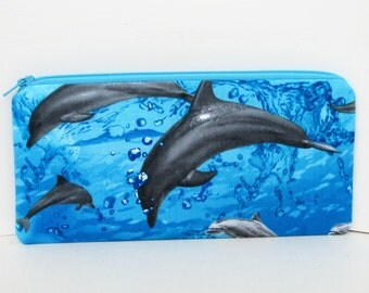 Dolphin Splash, Long Zipper Pencil Pouch, Blue Porpoise Zippered Bag