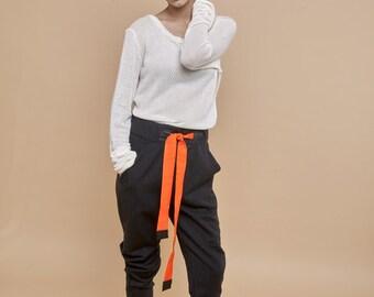 NEW! Wool stripes pants-orange stripes pants - boyfriend pants - classic pants