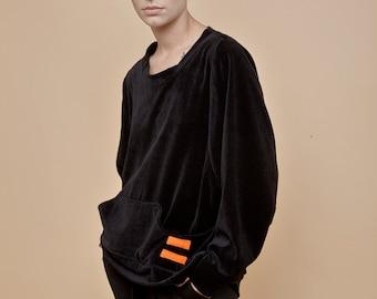 NEW! black velvet top - velvet sweatshirt - black top - oversized sweatshirt - soft sweatshirt - velvet sweater - velvet clothing