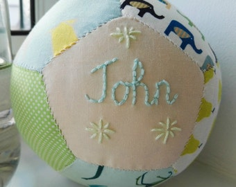 Unique christening gift, baby gift, handstitched embroidered baby boy christening baby ball, gift with toy rattle