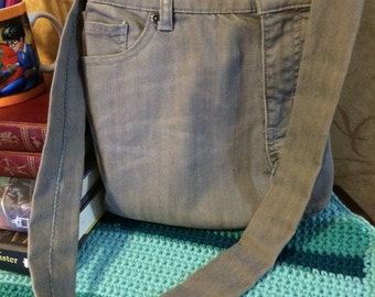 Handsewn Upcycled Gray Jean Denim Purse with lining and subtle blue accents
