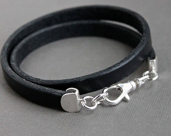 Men's Double Leather Wrap Bracelet, Silver and Leather Bracelet, Black Leather Wrap