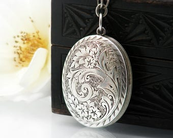 Victorian Locket & Muff Chain Necklace | Sterling Silver 'Front and Back' Locket Necklace - Extra Long 51 Inch Sterling Silver Guard Chain