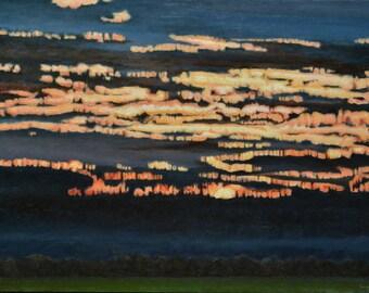 "Art Landscaspe Original Oil Painting Vibration Impressionist Sunset Sky Cloud Cloudscape Quebec Canada By Audet"" When The Light Is Dancing """