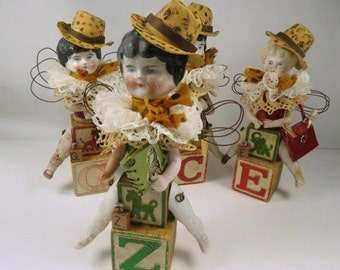"""Art Doll, """"Zelda, a Safari Sister"""", Assemblage Doll with Antique Doll Parts and Vintage Blocks,"""