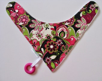 Baby Bandana Bib With an Attached Food Safe Silicone Teether, Pink Floral  Reversible  Minky Lined