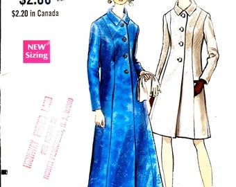 1960's Mod Coat in Two Lengths - Vogue Sewing Pattern No. 7297 -A-Line  Maxi Evening Coat with Rolled Collar  Bust 32 1/2