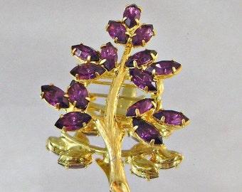 CHRISTMAS SALE Vintage Amethyst Rhinestone Brooch Gold Plated Purple Tree Branch