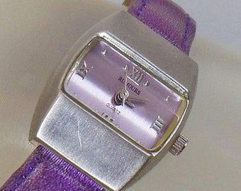 SALE Vintage Purple Mod Ladies Watch. Rumours.  Purple Leather and Silver Tone Ladies Watch.