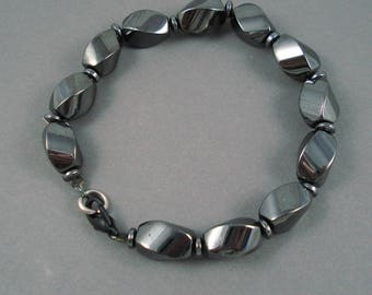 Magnetic Hematite Bracelet, Magnetic Therapy Bracelet, Charcoal Hematite 7.5 Inch Bracelet
