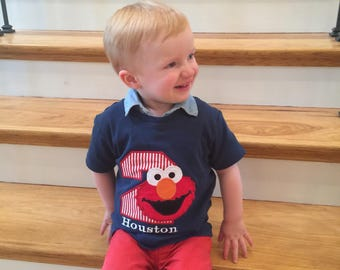 Boys Elmo Birthday Shirt,Sesame Street Birthday Shirt, Elmo Birthday Shirt,Elmo Party Shirt,Elmo Second Birthday Shirt,Boys 2nd Birthday