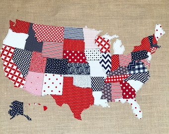 Fabric Scrap Map, Fabric map, United States Map, red, white & blue, 4th of July decor, Fabric Wall Art, Wall Hanging, Patriotic decor, USMap