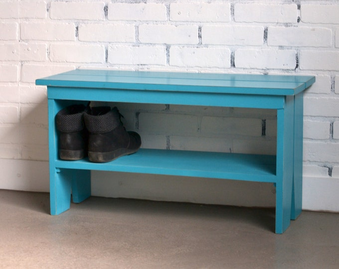 Wooden Bench with Vintage Turquoise Finish - Indoor Cottage Seating Schoolhouse Wood Bench Seat - Handmade Bench - IN STOCK - Same Day Ship
