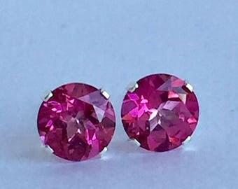 Mystic Pink Topaz 6mm 1.95ctw Sterling Silver Stud Earrings