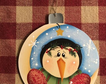 Adorable Over the Moon Penguin Hand  Painted Wood Christmas Ornament