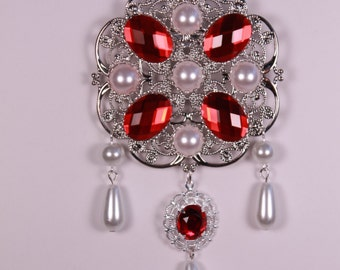 Ruby Red and Pearl Tudor Brooch Renaissance Medieval Jewelry Pin Borgias Jane Seymour