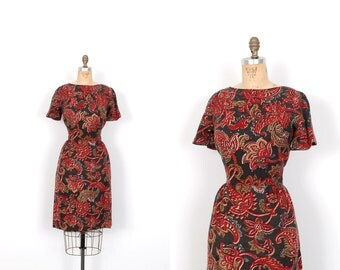 Vintage 1960s Dress / 60s Paisley Printed Wool Wiggle Dress / Red (medium M)