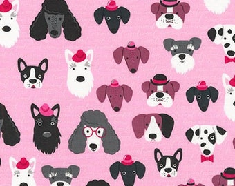 Classy Canines RK Fabric All Breeds Puppy Dog Faces and Dogs in Hats and Glasses on Pink