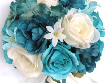 "17 Piece Package Wedding Bouquets Bridal Bouquet Wedding Silk flowers TURQUOISE TEAL AQUA Blue Cream Wedding Centerpiece ""RosesandDreams"""