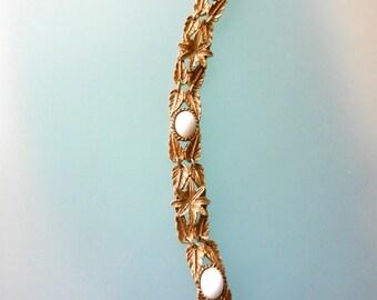 Goldette Art Nouveau Style Robin egg white chalk  color cabochons Bracelet - Oak Leaves design Link Bracelet -- art.587/4