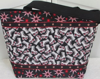Roller Derby Large Tote Bag Skater Girl Shoulder bag Black and Red Purse Ready To Ship