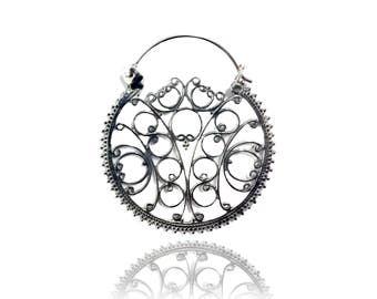 Hoop earrings, Silver hoops, Ornamented Earrings, Silver Earrings, Gypsy Earrings, Boho Jewellery, Gypsy Jewelry, Intricate silver hoops