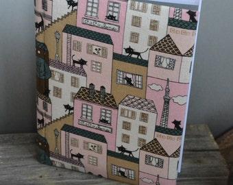 Writing Journal /  Handmade Sketchbook / Handmade Journal / Unique Journal /  Notebook /  Diary /  A5. 8 x 6 inch City Cats