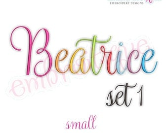 Beatrice 1 Monogram Font- Small - BX files included- Instant Download Machine embroidery design