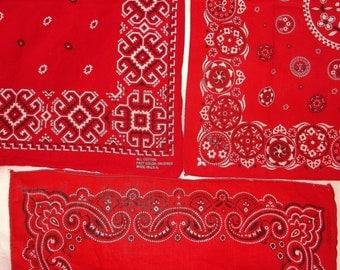 3 Vintage Red Cotton Bandannas • Fast Color / WashFast bandana