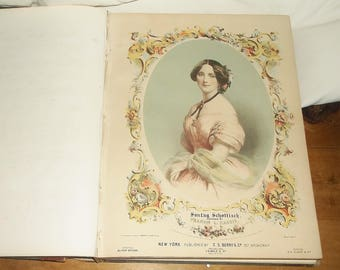 Antique 1842 Bound Sheet Music • Jenny Lind • Variety • Large Book • some damage • over 60 songs