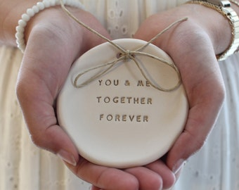 Ring bearer pillow alternative, Wedding ring dish You and me Together forever Ceramic ring dish