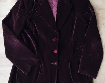 Vintage 1970s Koret of California Bohemian Jimi Hendrix Crushed Velvet Blazer Jacket | Purple Red Merlot Burgundy | Free Shipping