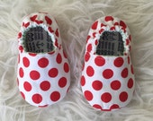 Red and White Polka Dots Soft Sole Toddler Shoes - Elastic Back - Made to Order