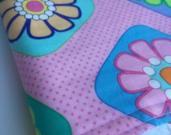 Baby Girl CHENILLE BURP CLOTH    -    Me & My Sister Designs Pink Floral Print