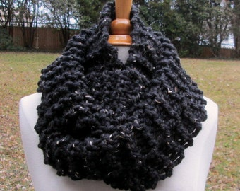 Plush Infinity Scarf Cowl in Speckled Black