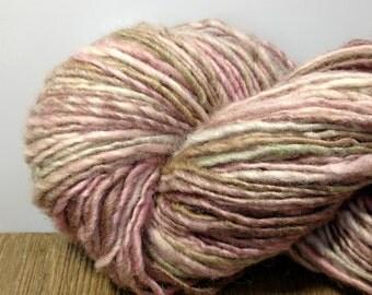 Handspun BFL Yarn, Handspun Wool Yarn - Baby Girl Petals - Hand Dyed 4 ounces Single Ply Yarn